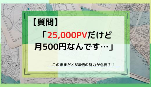 【相談】月25,000PVで500円なんです…